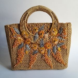 Handmade in Philippines Straw Satchel Floral Vtg